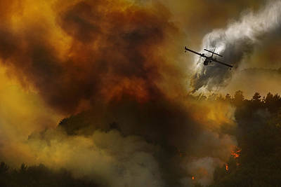 Fire Photograph - Fire In National Park Of Cilento (sa) - Italy by Antonio Grambone