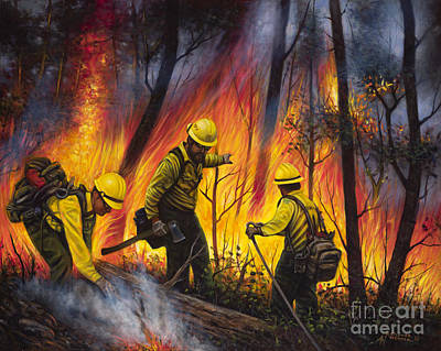Chavez Painting - Fire Line 2 by Ricardo Chavez-Mendez
