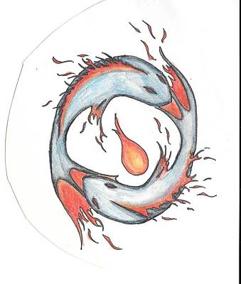 Pisces Fish Drawing - Fire Pisces by Michelle Shannon