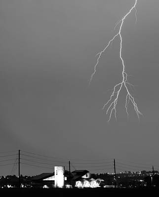 Fire Rescue Station 67  Lightning Thunderstorm 2c Bw Print by James BO  Insogna