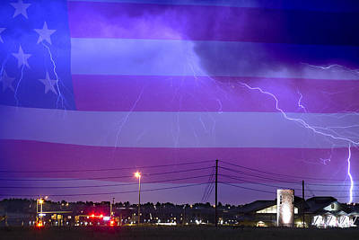 Fire Rescue Station 67  Lightning Thunderstorm With Usa Flag Print by James BO  Insogna