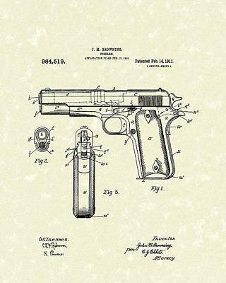 1911 Drawing - Firearm 1911 Patent Art by Prior Art Design