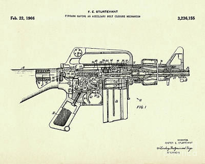 Firearm Having An Auxiliary Bolt Closure Mechanism-1966 Print by Pablo Romero