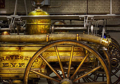 Warden Photograph - Fireman - Piano Engine - 1855  by Mike Savad