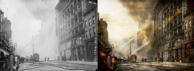 Fireman - Brooklyn Ny - Surpirse 1909 - Side By Side Print by Mike Savad