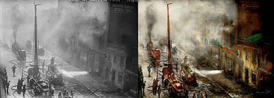 Fireman - New York Ny - Big Stink Over Ink 1915 - Side By Side Print by Mike Savad
