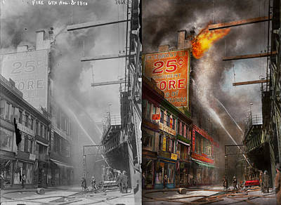 Fireman - New York Ny - Show Me A Sign 1916 - Side By Side Print by Mike Savad