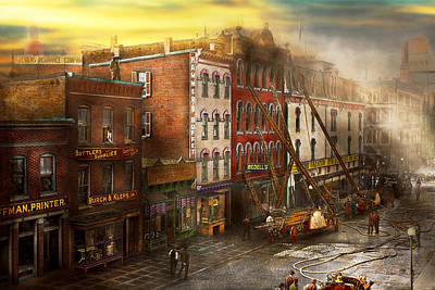 Fireman - Washington Dc - Fire At Bedell's Bedding 1915 Print by Mike Savad