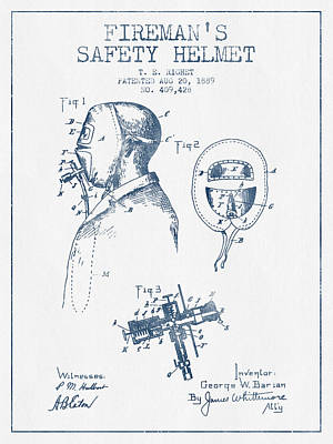 Rescue Drawing - Firemans Safety Helmet Patent From 1889 - Blue Ink by Aged Pixel
