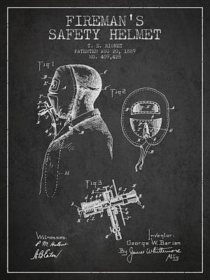 Rescue Drawing - Firemans Safety Helmet Patent From 1889 - Dark by Aged Pixel