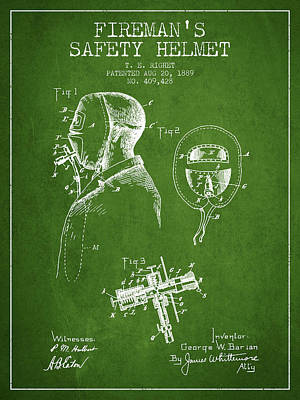 Gear Digital Art - Firemans Safety Helmet Patent From 1889 - Green by Aged Pixel