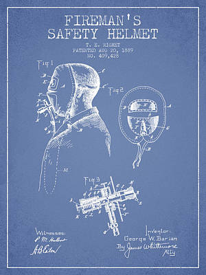 Rescue Drawing - Firemans Safety Helmet Patent From 1889 - Light Blue by Aged Pixel