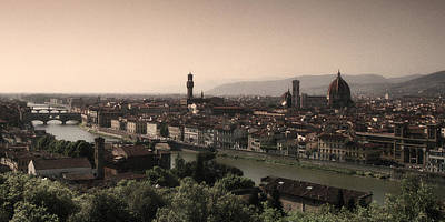 Firenze At Sunset Print by Andrew Soundarajan
