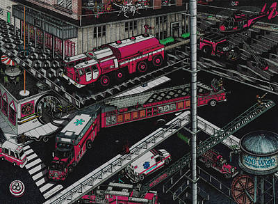 Drawing - Firetrucks by Richie Montgomery