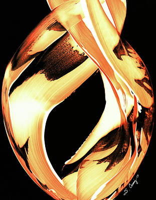 Firewater 1 - Buy Orange Fire Art Prints Print by Sharon Cummings