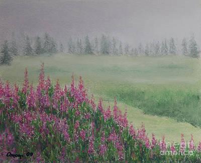 Constance Widen Painting - Fireweeds Still In The Mist by Stanza Widen