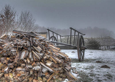 Wagon Photograph - Medieval Village - Firewood by Jan Boesen