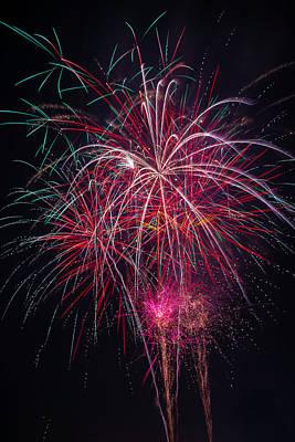 Fireworks Bursting In Night Sky Print by Garry Gay