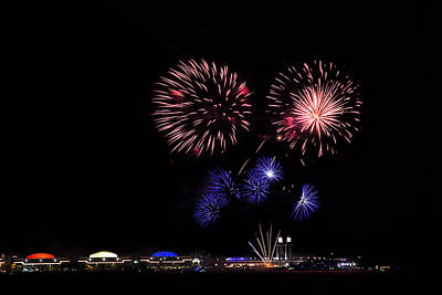Fireworks Bursts Over Chicago Print by Andrew Soundarajan