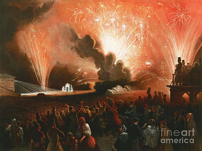 Alejandro Painting - Fireworks by Celestial Images