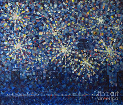 Fireworks Painting - Fireworks Finale Cityscape by Jim Rehlin