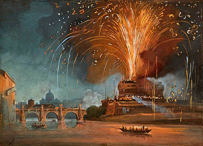 Ippolito Caffi Painting - The Firework Windmill In Castel Sant'angelo by Ippolito Caffi