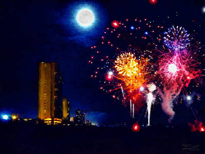 Fireworks In The Moonlight Print by Theresa Campbell