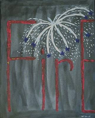 July Painting - Fireworks by Nannette Kelly