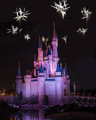 Fireworks Over Cinderella's Castle Print by Chris Bordeleau