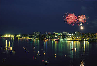 Fireworks Over Halifax Harbor Celebrate Print by James P. Blair