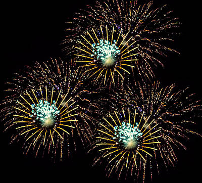 4th July Digital Art - Fireworks - Yellow Spirals by Black Brook Photography