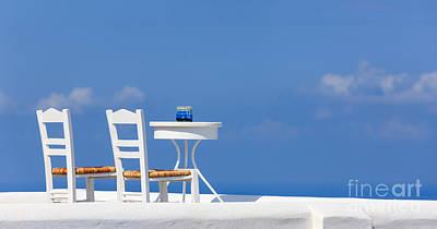 Empty Chairs Photograph - Firostefani, Santorini, Greece by Henk Meijer Photography