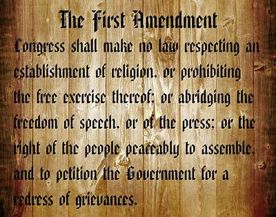 Bill Of Rights Mixed Media - First Amendment Barn Door by Dan Sproul