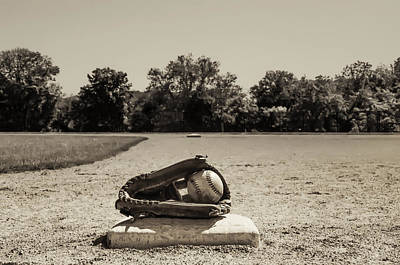 Baseball Photograph - First Base In Sepia by Bill Cannon