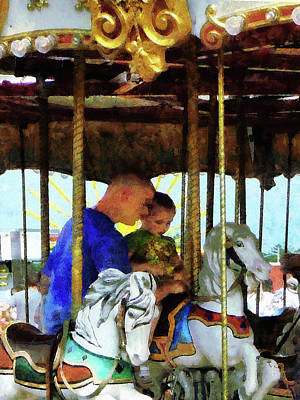 Father Photograph - First Carousel Ride by Susan Savad