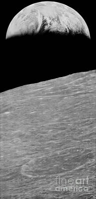 Terra Firma Photograph - First Earthrise 1966 by NASA LOIRP Science Source