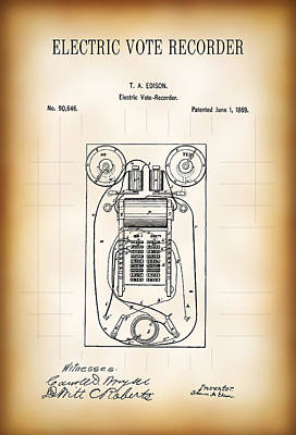 First Electric Voting Machine Patent 1869 Print by Daniel Hagerman