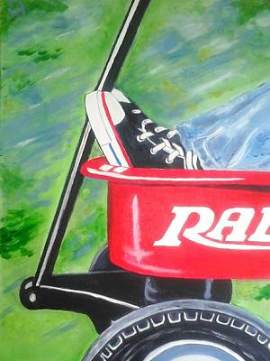 Radio Flyer Wagon Painting - First Fast Wheels by Elisheva Caden