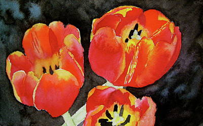 Spring Bulbs Painting - First Fire by Beverley Harper Tinsley