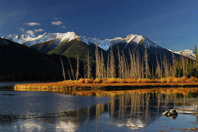 Banff Photograph - First Light At Sunrise On First Vermilion Lake In The Fall by Reimar Gaertner