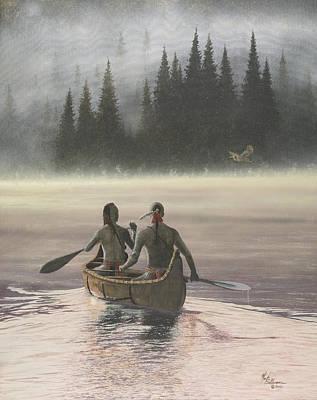 Canoeist Painting - First Light by Martin Bellmann