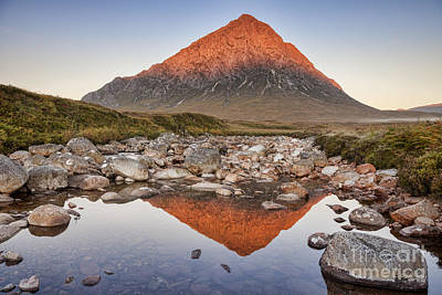 First Light On Buachaille Etive Mor Print by Colin and Linda McKie