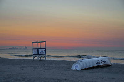 Seascape Photograph - First Light On Ocean City New Jersey Beach by Bill Cannon