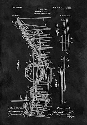 Amusements Mixed Media - First Roller Coaster Patent by Dan Sproul