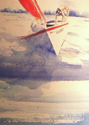 Watercolor With Pen Painting - First Sailing Lesson by Jill Morris