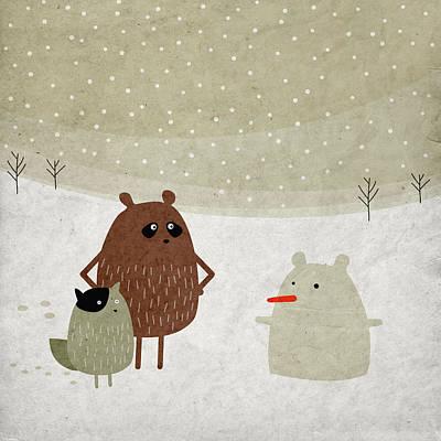 Squirrel Drawing - First Snowbear by Fuzzorama