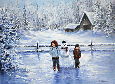 Snow Piles Painting - First Snowman by Julie Townsend