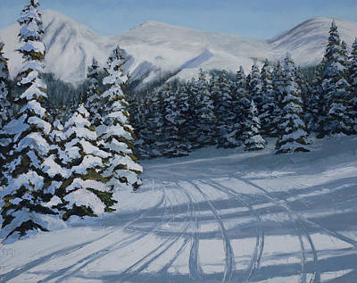 Snowboarding Painting - First Tracks by Mary Giacomini