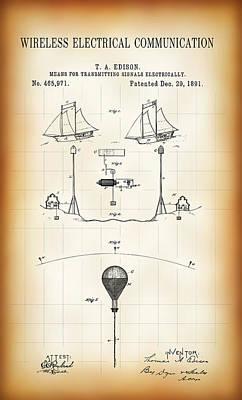 First Wireless Communication Network Patent  1891 Print by Daniel Hagerman
