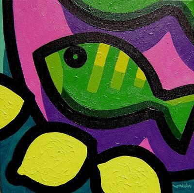 Tropical Fish Painting - Fish And Lemons by John  Nolan